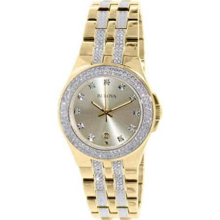 bulova men s crystal 98b174 gold stainless steel quartz watch bulova men s crystal 98b174 gold stainless steel quartz watch