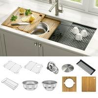 KRAUS Kore™ 2-Tier Workstation 45-inch Undermount 16 Gauge Single Bowl Stainless Steel Kitchen Sink with Accessories (Pack of 10)
