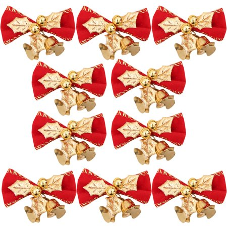 10PC Christmas Tree Decoration Xmas Bowknot Bell Party Garden Wedding Ornament ()