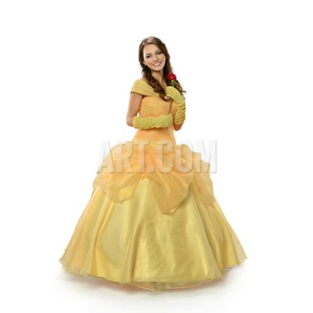 Young Woman Dressed in Princess Costume Holding Rose Isolated over White Background Print Wall Art By Gino Santa - Womens Princess Costume