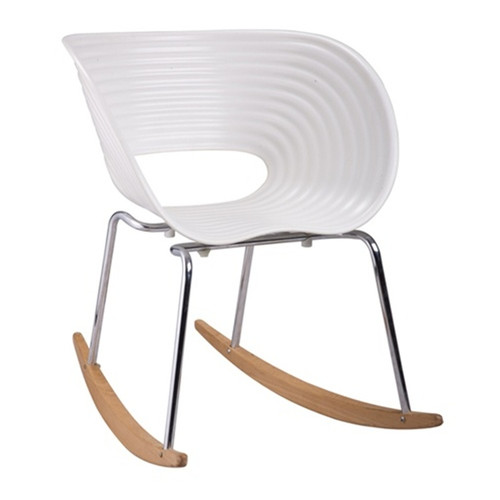 Fine Mod Imports Vac Arm Rocker Chair-Color:White,Style:Contemporary/Modern