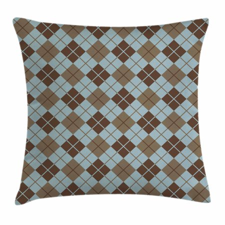 Brown and Blue Throw Pillow Cushion Cover, Argyle Pattern with Diamond Shaped Rectangles Lines Abstract Geometric, Decorative Square Accent Pillow Case, 18 X 18 Inches, Bluegrey Brown, by Ambesonne