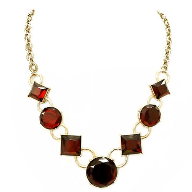 Eshopo 0800000048084 Round And Square Mixed Red Glass Crystal Gold Necklace