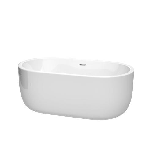"Wyndham Collection WCOBT101360 Juliette 60"" Freestanding Acrylic Soaking Tub wit"