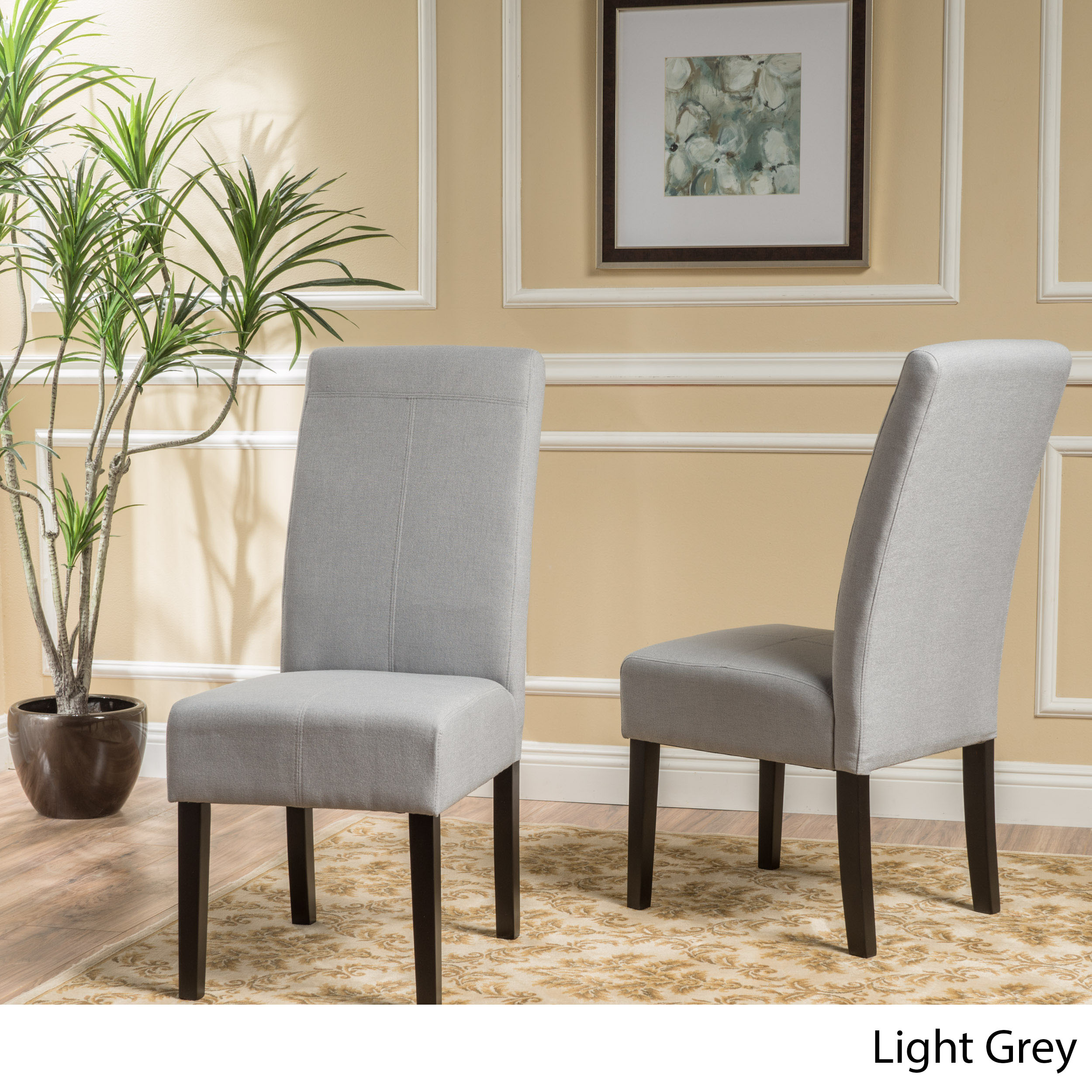 Noble House Janine Light Grey Fabric Dining Chair (Set Of 2)
