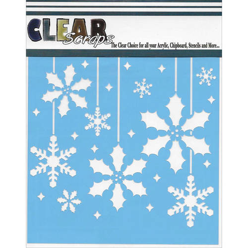 "Clear Scraps Stencils, 6"" x 6"", Holly Christmas Bulbs"