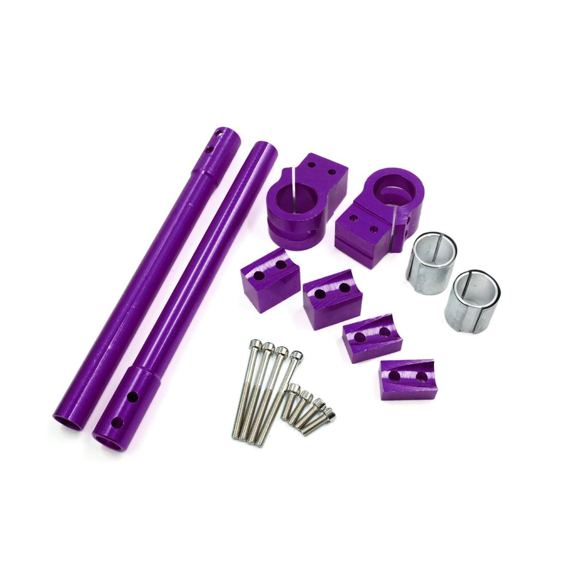 2Pcs Purple Metal Handlebar Separate Handle Grip Set for Motorcycle