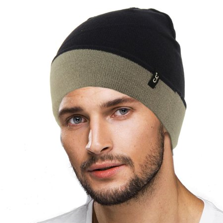 CC Men's Reversible Winter Soft Knit Stretchy Warm Beanie Skull Ski Hat Cap (Reversible Beanie Cap Hat)
