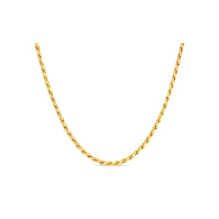 18k Gold Over Sterling Silver Rope 080 Gauge Chain Necklace 30 Inches