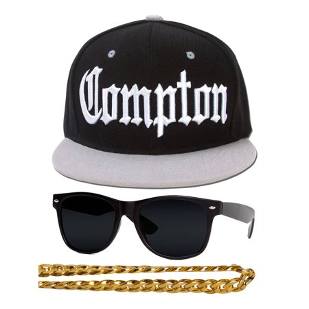 Compton 80s Rapper Costume Kit - Flat Bill Hat + Sunglases + Chain Necklace - 80s Attire Male