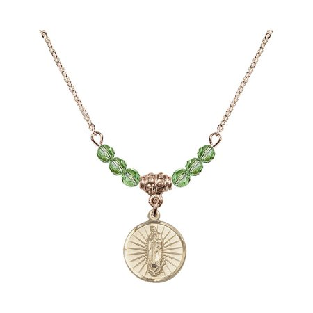 18-Inch Hamilton Gold Plated Necklace with 4mm Green August Birth Month Stone Beads and Our Lady of Guadalupe Charm