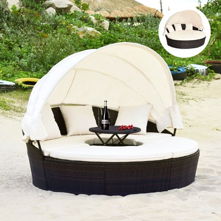 Gymax Cushioned Patio Rattan Round Daybed w/ Adjustable Table 3 Pillows Canopy - image 1 of 10
