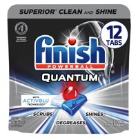 Finish Quantum, 12ct, with Activblu technology, Dishwasher Detergent Tabs, Ultimate Clean and Shine
