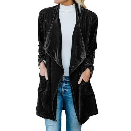 (ReliMart Women Long Sleeve Open Front Solid Color Classic Velvet Trench Coat)