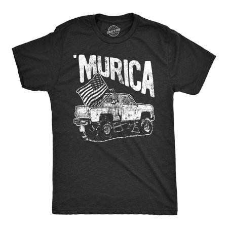 Mens Murica Truck Tshirt Funny Fourth Of July USA Pride Tee For Guys