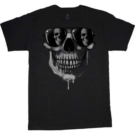 Mens Graphic Tees Sunglasses Skull T-shirt Decked-Out-Duds Mens Clothing