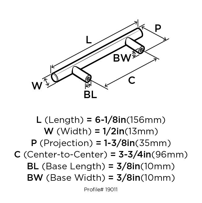 Bar Pulls 3 3 4 In 96 Mm Center To Center Gunmetal Cabinet Pull Walmart Com Walmart Com