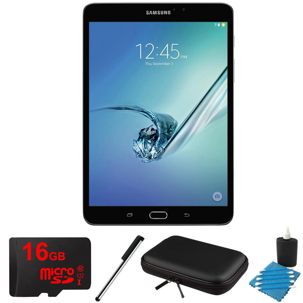 Samsung Galaxy Tab S2 8.0-inch Wi-Fi Tablet (Black/32GB) SM-T710NZKEXAR 16GB MicroSD Card Bundle includes Galaxy Tab S2, 16GB MicroSD Card, Stylus Stylus Pen, 8 Inch Hard EVA Case and Cleaning Kit