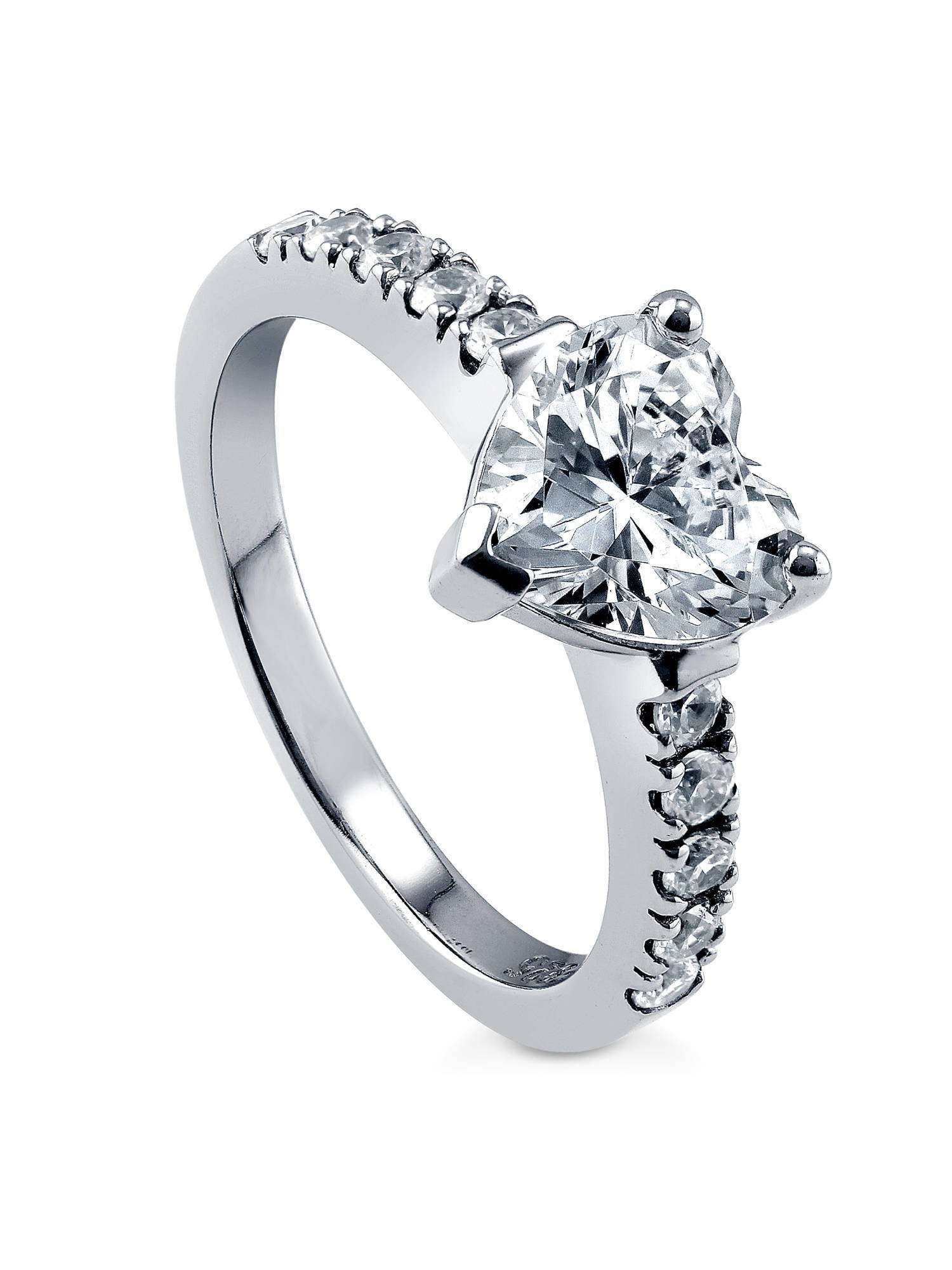 Rhodium Plated Silver Heart Shaped Cubic Zirconia CZ Solitaire Promise Engagement Ring Size 10