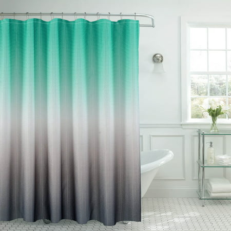 Creative Home Ideas Ombre Textured Shower Curtain with Beaded Rings for $<!---->