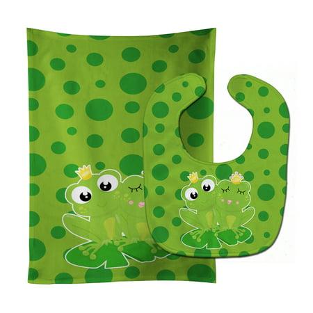 - Frog Prince and Princess Baby Bib & Burp Cloth