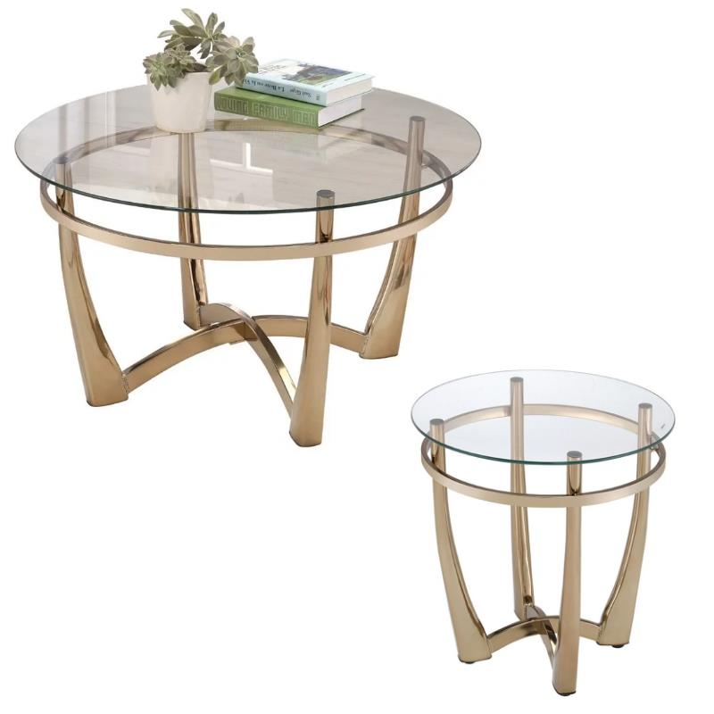 Orlando II 2 Piece Round Glass Top Coffee Table And End