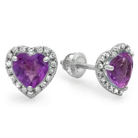 Dazzlingrock Collection 10K Heart Shape Amethyst & Round Cut Diamond Ladies Halo Stud Earrings, White Gold