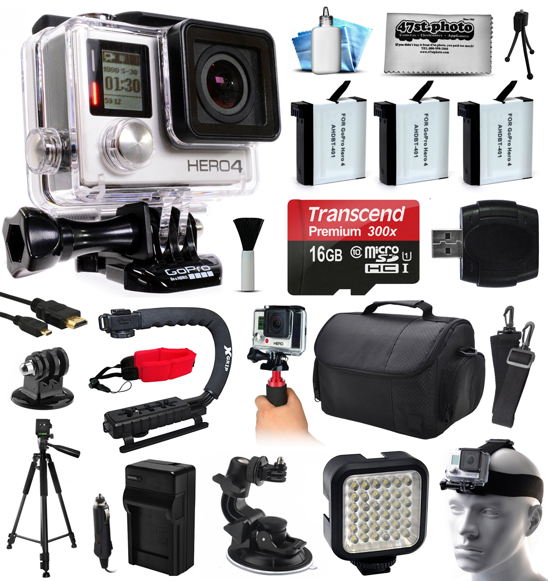 GoPro HERO4 Hero 4 Black Edition 4K Action Camera Camcorder with 16GB MicroSD, 3x Battery, Charger, Large Case, Handle, Tripod, Car Mount, LED Video Light, Head Helmet Strap, Cleaning Kit (CHDHX-401)
