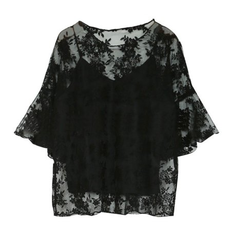 Hot Fashion Women Floral Blouse O-Neck Tops Flower Embroidered Chiffon Blouse Crochet lace Two-piece Butterfly Sleeves