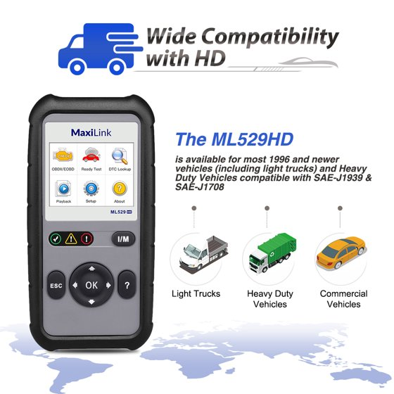 Autel MaxiLink ML529HD OBD2 Scan Tool with Enhanced Mode 6/One-Key Ready  Test Code Reader(Upgraded ML519) for Heavy-Duty J1939 & J1708 with