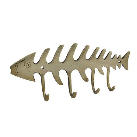 Solid Brass Fish Bones Decorative Wall Hook ()