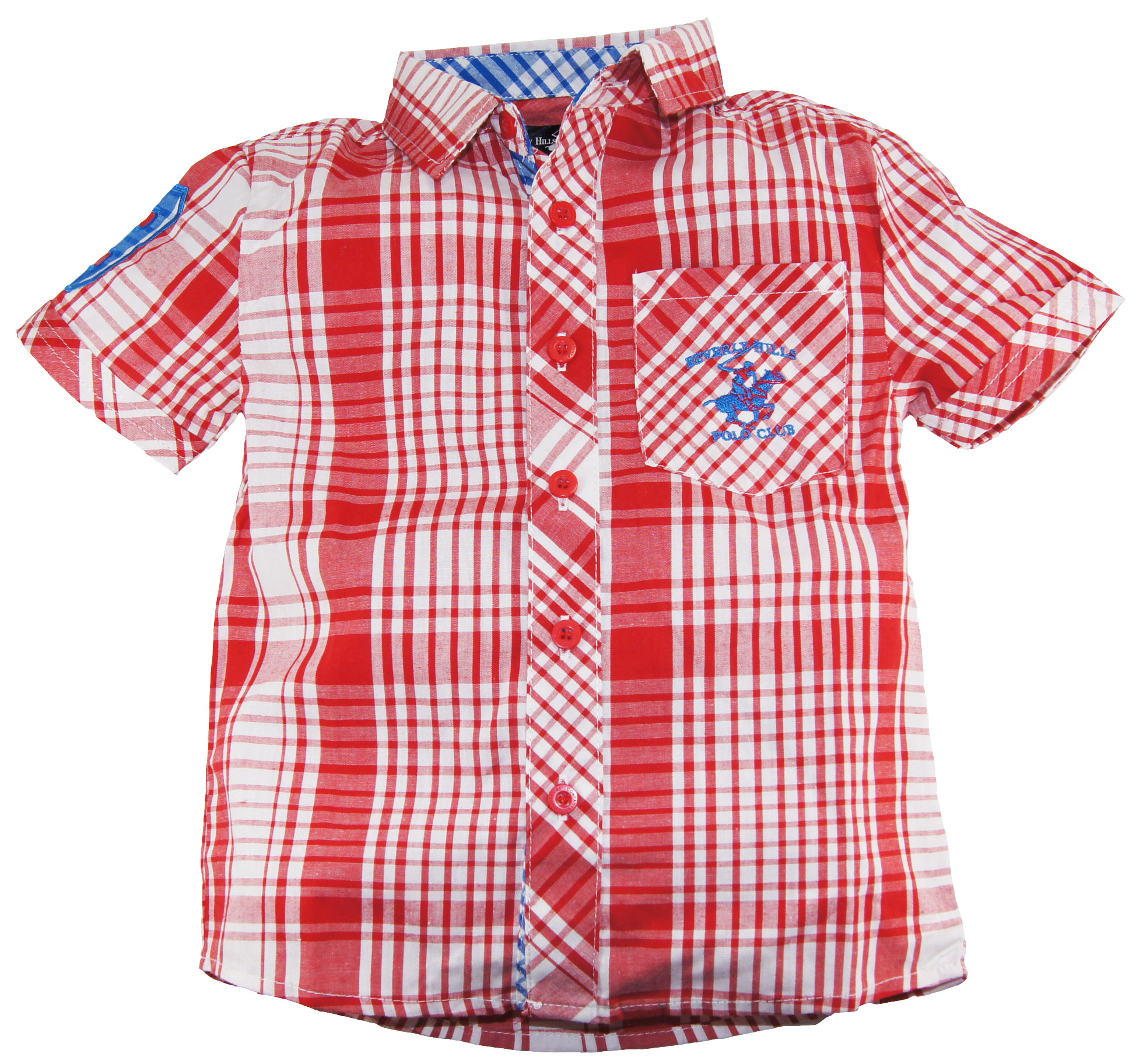 Beverly Hills Polo Club Little Boys' Red Plaid Short Sleeve Shirt