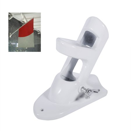 Chrome Flagpole Holder - Dilwe 2 Angle Aluminium Alloy Flag Pole Holder Mounting Wall Mount Flagpole Windsock Bracket White, Flag Bracket, Flag Pole Holder