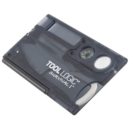 TOOL LOGIC SURVIVAL CARD W/COMPASS CHARCOAL