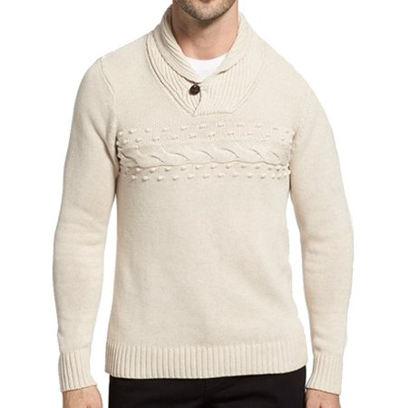 1901 Nordstrom New Beige Mens Size Large L Shawl Collar Ribbed Sweater