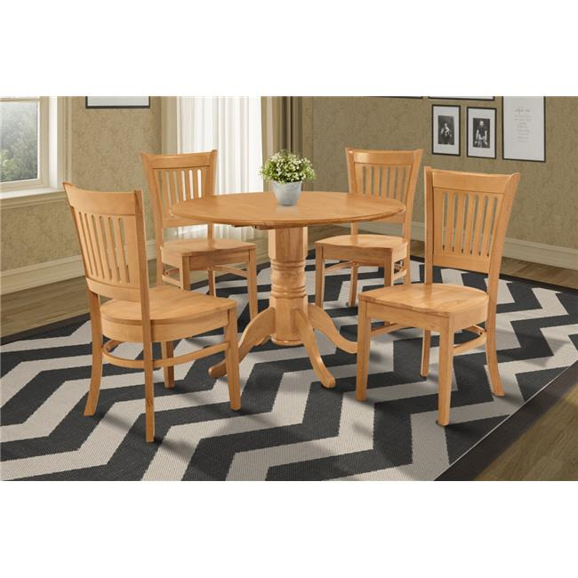 M&D Furniture BUMI5-OAK-W Burlington 5 Piece dining seet-kitchen table and 4 dining chairs in Oak finish