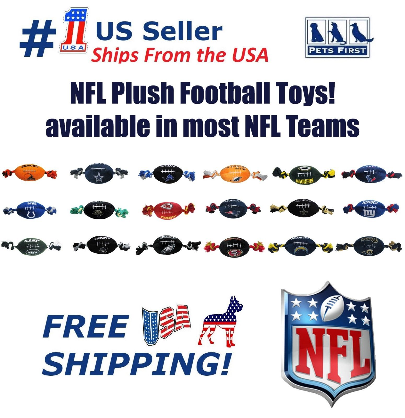 Pets First NFL Los Angeles Rams Plush Football Rope Toy for Dogs & Cats - Soft, Chewy & Squeaky