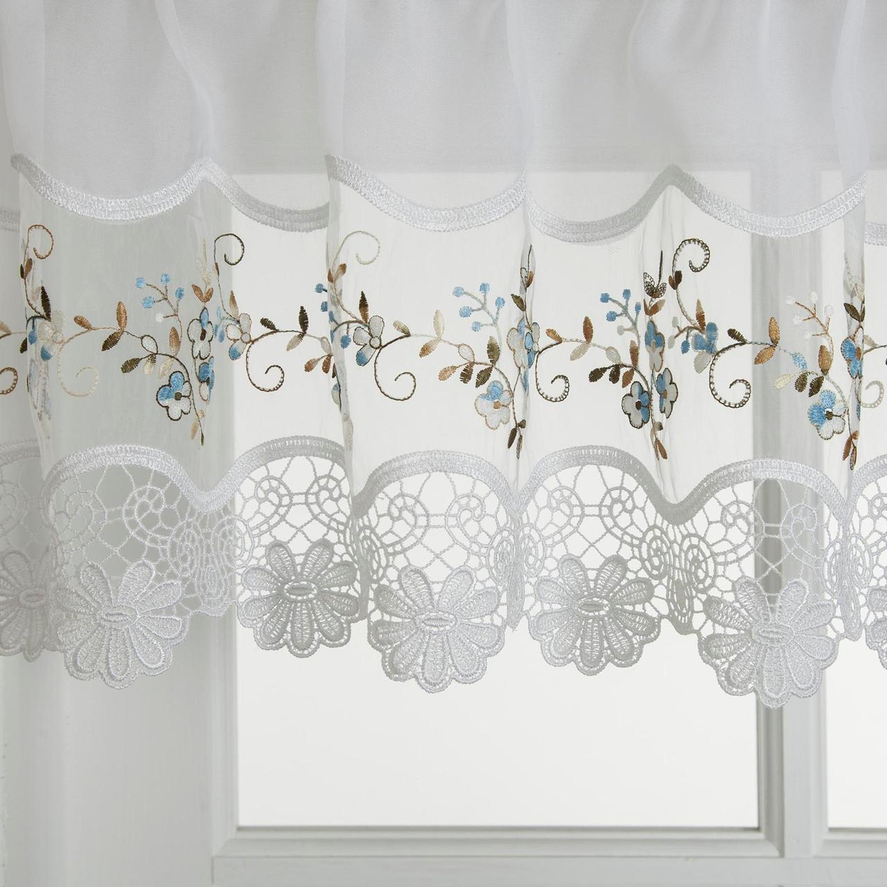 Vintage Embroidered Blue Kitchen Curtain Valance