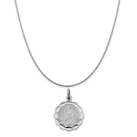 Disco Chain (Sterling Silver Praying Hands Disc Charm on a Sterling Silver Rope Chain Necklace, 16