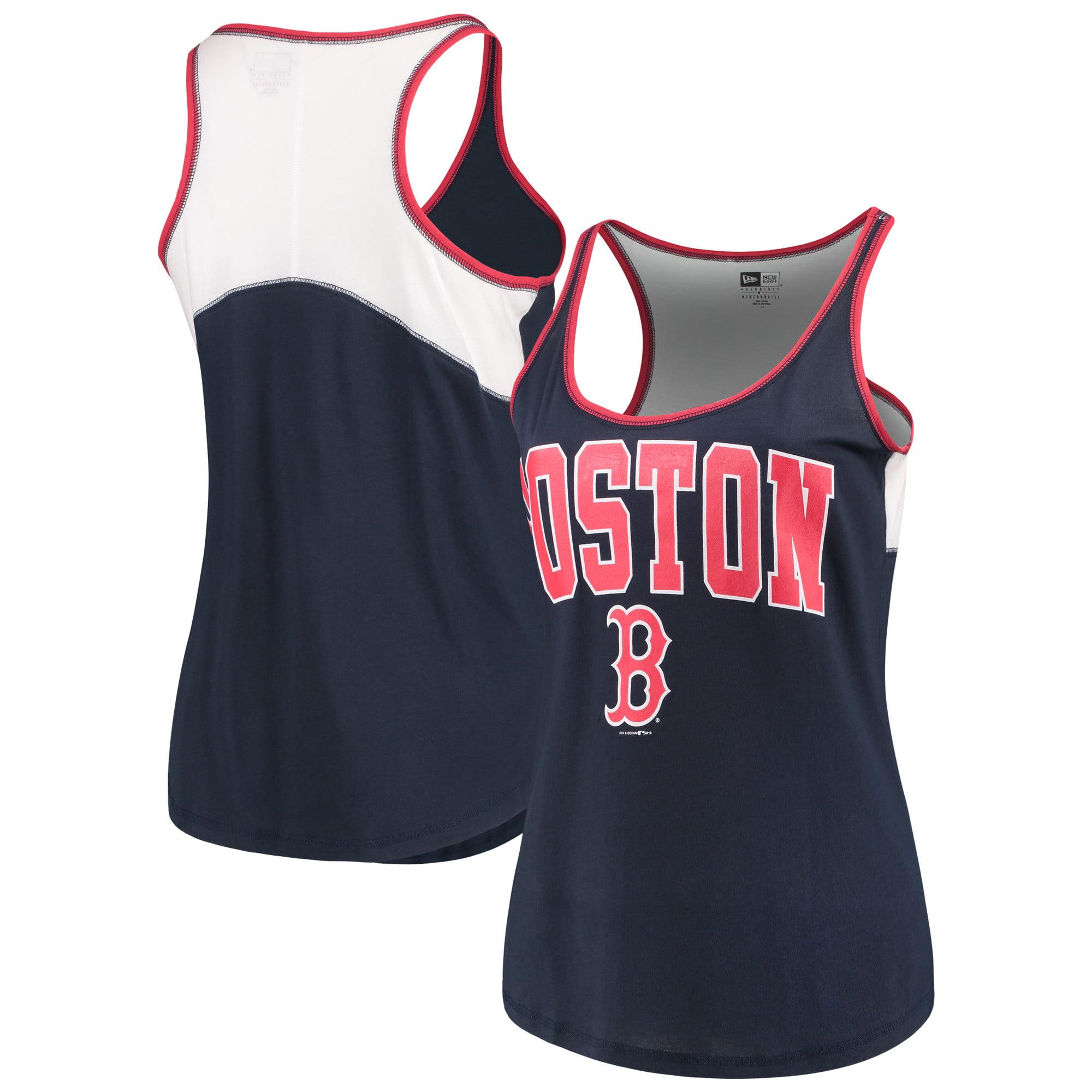 Boston Red Sox 5th & Ocean by New Era Women's Plus Size Baby Jersey Racerback Tank Top - Navy