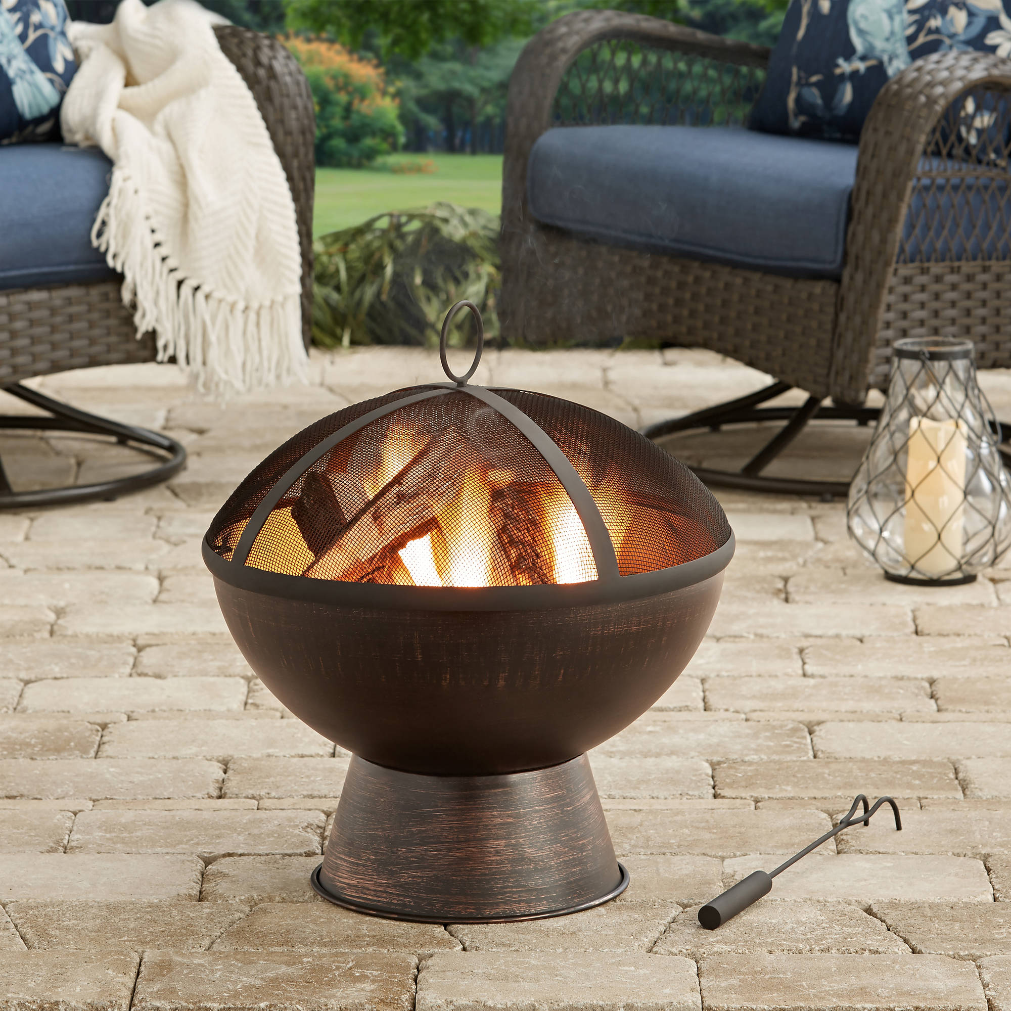 "Better Homes and Gardens 21"" Bronze Finish Wood-Burning Fire Bowl"
