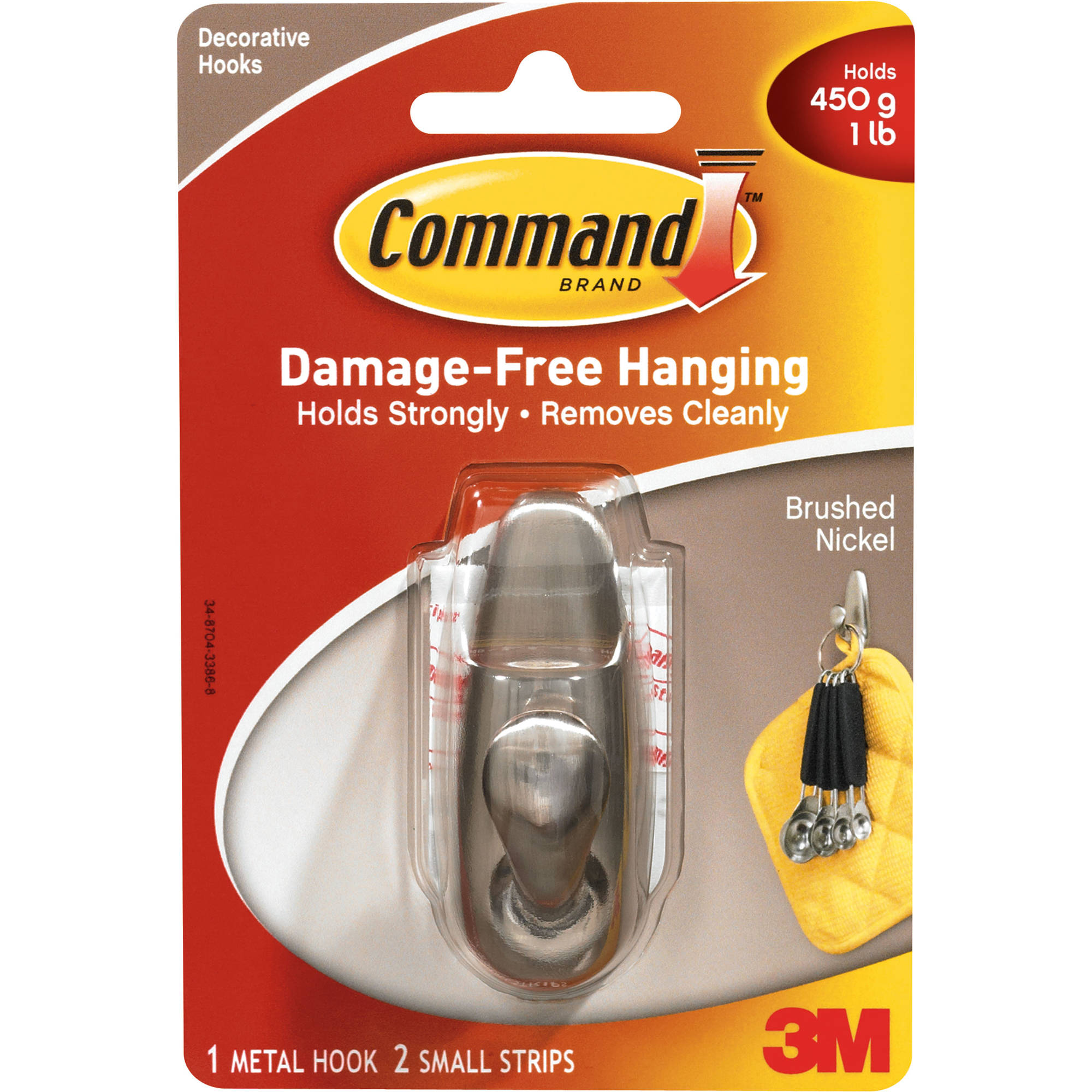 Command Small Forever Classic Hook, Brushed Nickel, 1 Hook, 2 Strips, FC11-BN