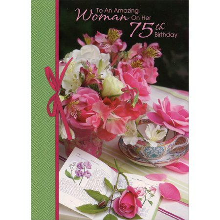 Designer Greetings Amazing Woman Flowers on Table: 75th Birthday Card - 75th Birthday Invitations