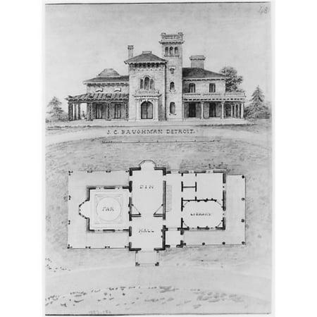 "- The J C Baughman (Scotten) House Detroit Michigan (front elevation and plan) Poster Print by Alexander Jackson Davis (American New York 1803  ""1892 West Orange New Jersey) (18 x 24)"