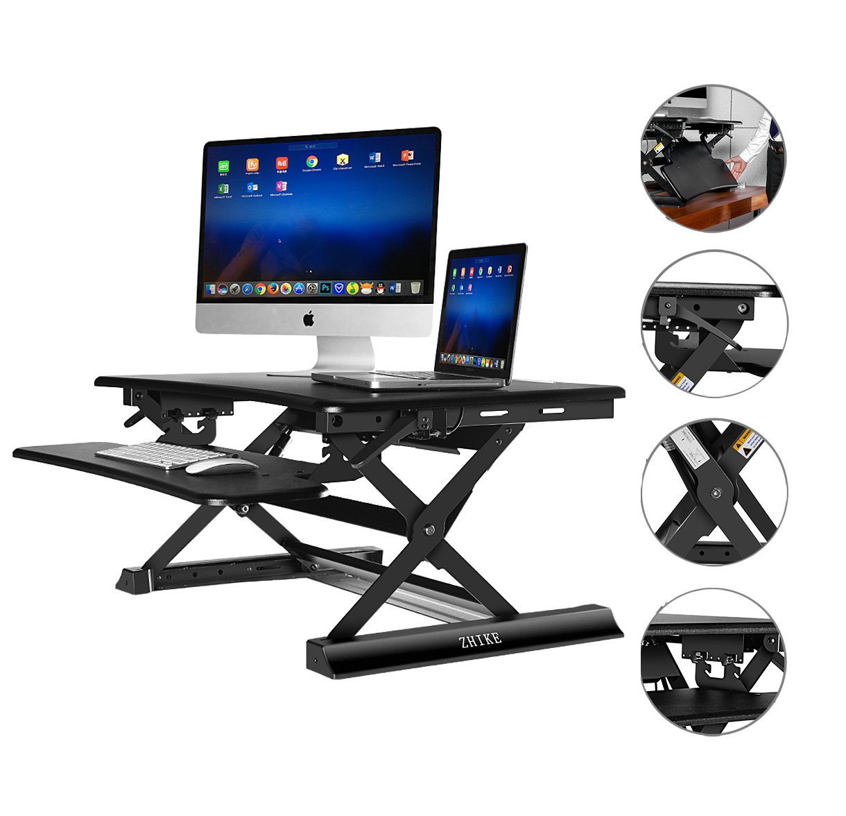 Height Adjustable Standing Desk Riser Sit & Stand Up Comp...