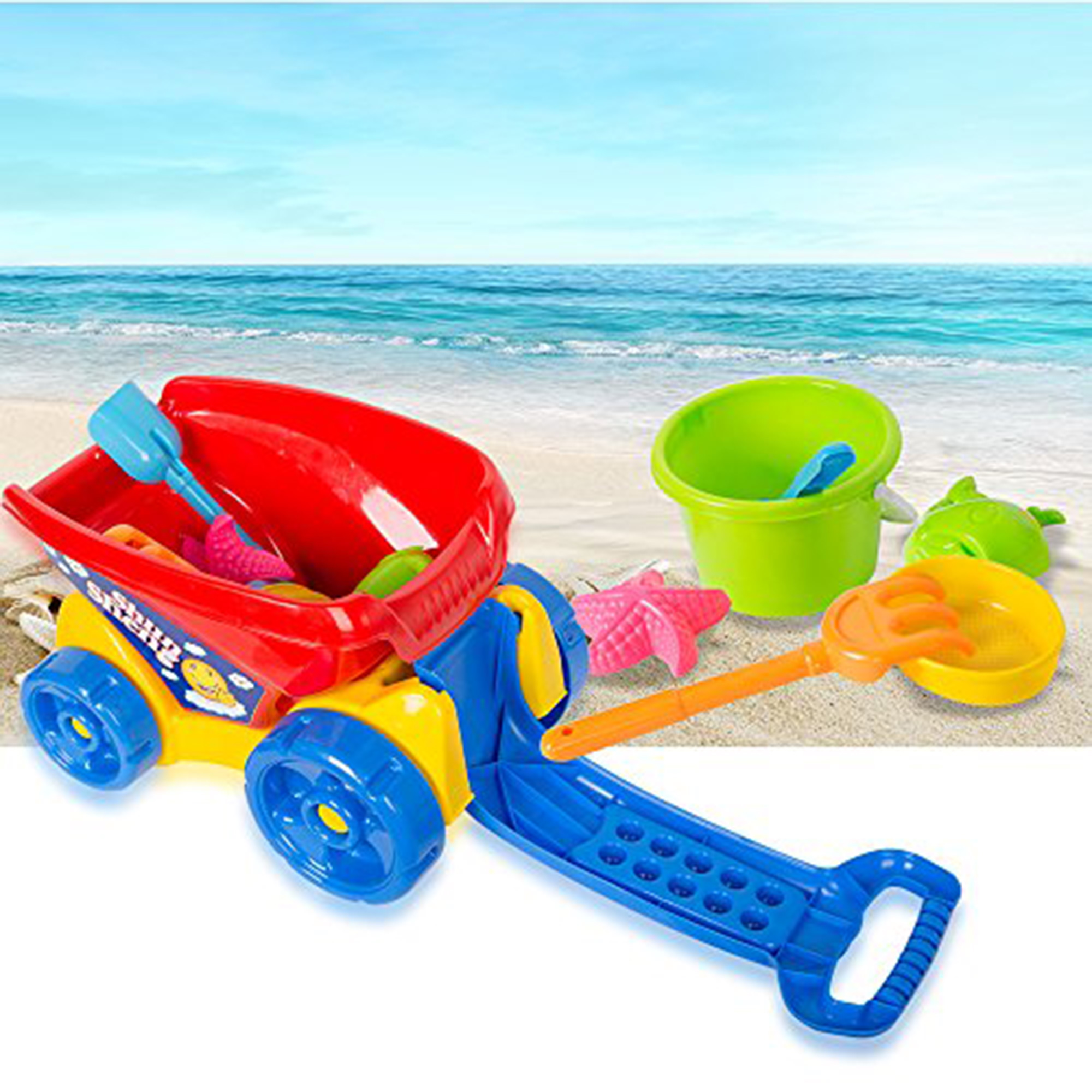 KARMAS PRODUCT Plastic Beach Toys Dump Truck Sand Bucket and Shovel Playset by KARMAS PRODUCT