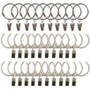 1.5 Inch Openable Metal Curtain Rings with Clips, Set of 10
