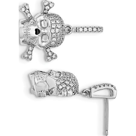925 Sterling Silver Rhodium-plated & CZ Skull Dangle Post (19x26mm) Earrings - image 2 of 2