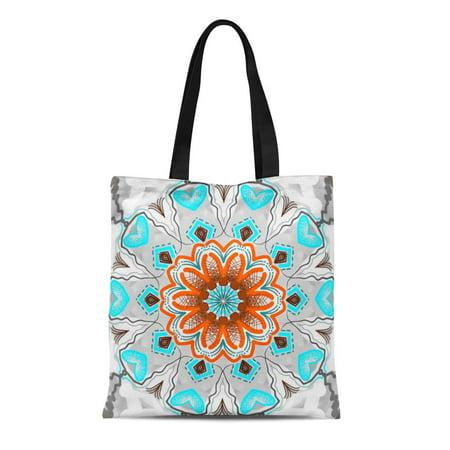 JSDART Canvas Tote Bag Orange Décoration Coussin Carré Jimette Turquoise Brun Reusable Handbag Shoulder Grocery Shopping Bags - image 1 de 1