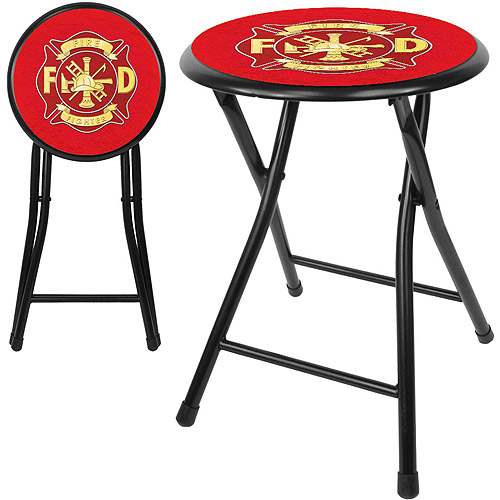 "Trademark Fire Fighter 18"" Cushioned Folding Stool, Black"